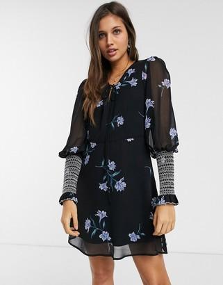 We Are Kindred havana shirred floral mini dress