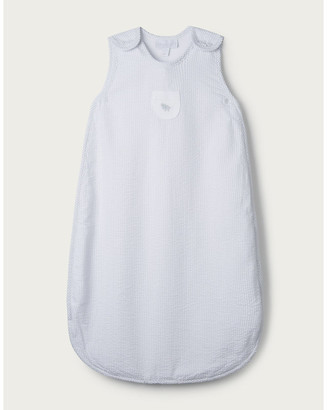 The Little White Company Kimbo elephant-embroidered striped cotton-blend sleeping bag 6-12 months
