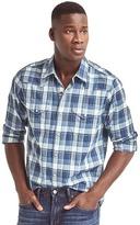 Gap Indigo plaid western slim fit shirt