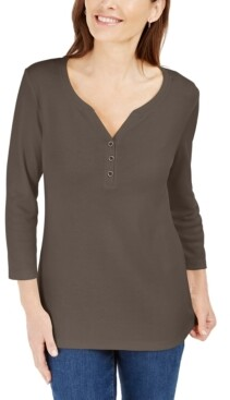 Karen Scott 3/4-Sleeve Henley Shirt, In Regular and Petite, Created for Macy's