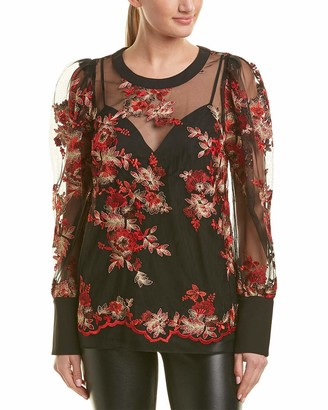 BCBGMAXAZRIA Women's Floral Embroidered Puff Sleeve Top