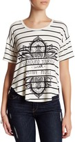 Bobeau Short Sleeve Striped Graphic Tee (Petite)
