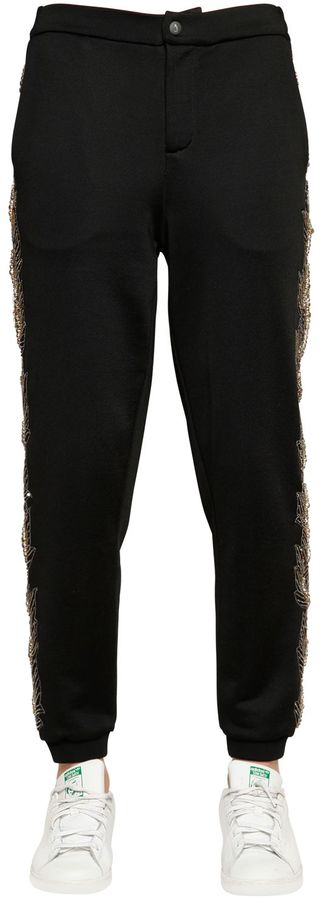 Jo No Fui Embellished Viscose Cotton Jersey Pants