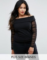 Coast Plus Ainey Bardot Top With Mesh Sleeves