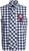 Love Moschino Appliquéd Gingham Cotton-Blend Shirt