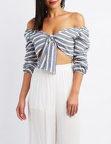 Charlotte Russe Striped Off-The-Shoulder Tied Crop Top