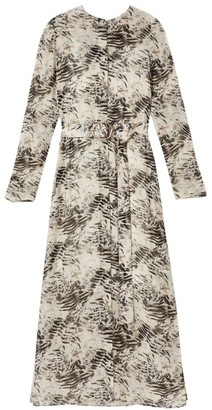 Lafayette 148 New York Neilson Graphite Print Midi Dress