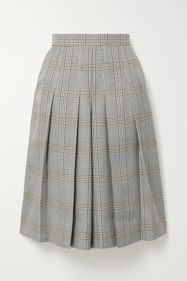 Maje Pleated Checked Woven Culottes - Gray