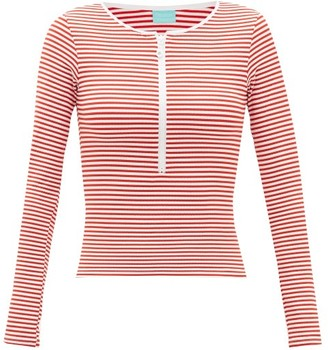 Melissa Odabash Cali Striped Ribbed-jersey Long-sleeved Bikini Top - Womens - Red Stripe