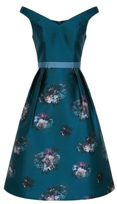 Dorothy Perkins Womens Chi Chi London Teal Floral Print Midi Skater Dress, Teal