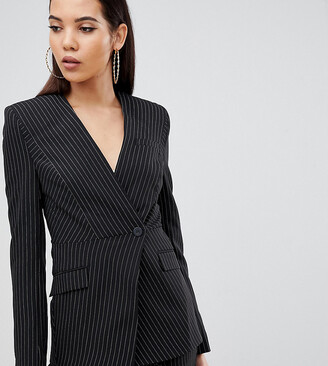 Asos Tall DESIGN Tall suit blazer with sharp shoulders in cut about pinstripe-Multi