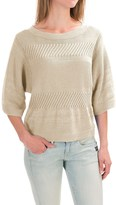 Pendleton Mixed Media Crop Sweater - Elbow Sleeve (For Women)