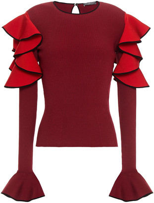 Alexander McQueen Cold-shoulder Ruffled Ribbed-knit Sweater