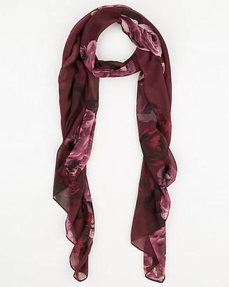 Le Château Floral Print Silk-Like Scarf