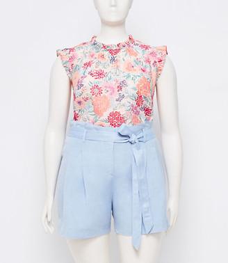 LOFT Plus Linen Blend Tie Waist Shorts
