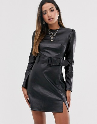 Fashion Union structured bodycon dress in faux leather with belt detail
