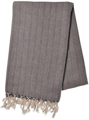 Slate & Salt Herringbone Black Turkish Towel