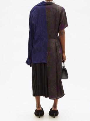 Balenciaga Asymmetric Patchworked Floral Shirt Dress - Multi