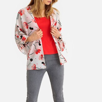 Anne Weyburn Floral Poppy Print Kimono Jacket