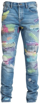 PRPS Le Sabre Distressed Rainbow Paint Jeans
