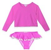 Stella Cove Girl's Pompom Rashguard Two-Piece Swimsuit