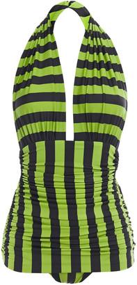 Norma Kamali Bill Mio Ruched Striped Halterneck Swimsuit