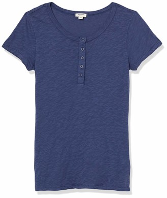 Dylan by True Grit Women's Soft Cotton Shortsleeve Button Henley
