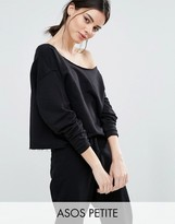 Asos LOUNGE Off Shoulder Raw Edge Sweat