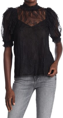 Do & Be Mock Neck Puff Sleeve Lace Top