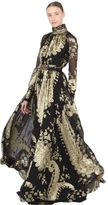 Ungaro Silk Blend Jacquard Fil Coupe Gown