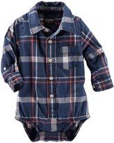 Osh Kosh Plaid Bodysuit (Baby) - White/Blue-24 Months