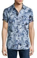 Robert Graham Masoor Leaf-Print Short-Sleeve Sport Shirt