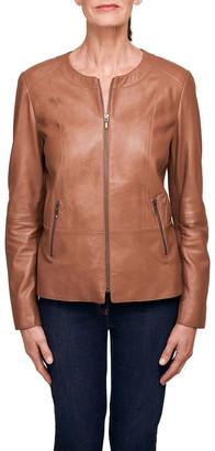 Blue Illusion Panelled Leather Jacket