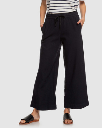 Roxy Womens Great Past Cropped Wide Leg Linen Pant