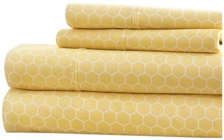 IENJOY HOME Becky Cameron Honeycomb Pattern 4 Piece Bed Sheet Set, Yellow, Full