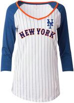 5th & Ocean Women's New York Mets Pinstripe Glitter Raglan T-Shirt