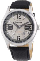 Police PL-13453JS-61 Men's Lancer Leather Strap Gunmetal Dial Stainless Steel Watch