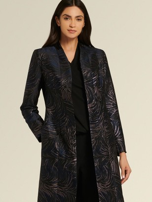 DKNY Donna Karan Women's Faux Leather Feather Print Duster - Sapphire/Combo - Size 12