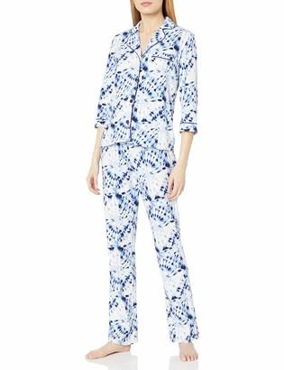 Mae Amazon Brand Women's Sleepwear Notch Collar 3/4 Sleeve Pajama Set