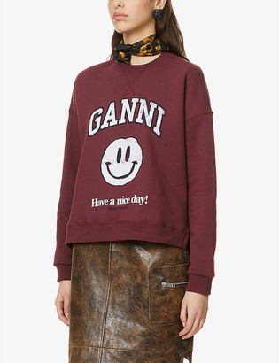 Ganni Isoli logo-print recycled cotton and recycled-polyester-blend sweatshirt