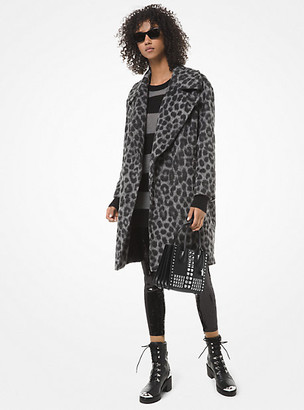 Michael Kors Leopard Jacquard Cocoon Coat