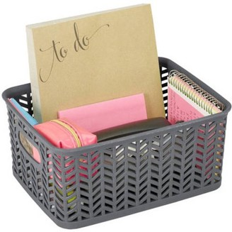 Simplify small resin storage organizer tote bin Herringbone (10x8x4) - Bath, kitchen, closets