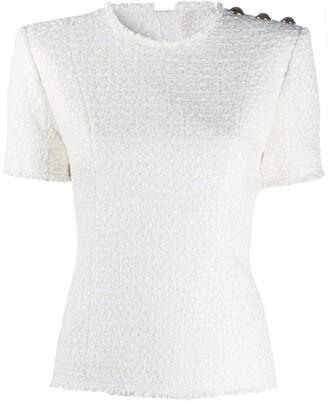 Balmain Button-Embellished Tweed Top