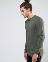 Asos Longline Muscle Sweatshirt With Side Zips In Khaki