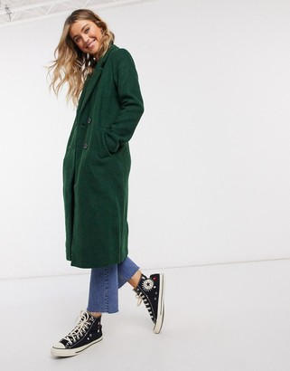 Monki Lou boucle wool double breasted coat in green