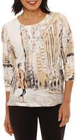 Alfred Dunner 3/4 Sleeve Crew Neck T-Shirt-Womens Petites
