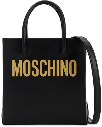 Moschino Logo Printed Leather Shoulder Bag