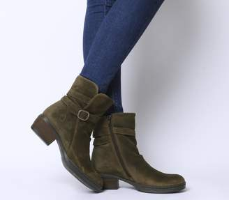 Fly London Cimp Buckle Boots Sludge Suede