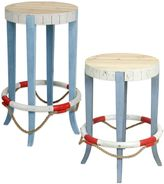 Bed Bath & Beyond Coastal Life Preserver Wooden Stool in Blue/White