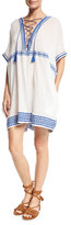 Vitamin A Isabell Lace-Up Embroidered Short Caftan Coverup, White